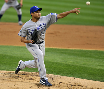 CHICAGO, IL - AUGUST 12: Bruce Chen #52 of the Kansas City Royals pitches against the Chicago White Sox on August 12, 2011 at U.S. Cellular Field in Chicago, Illinois.  (Photo by David Banks/Getty Images)