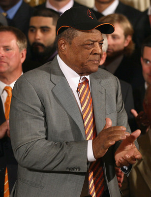 WASHINGTON, DC - JULY 25:  Hall of Fame baseball player Willie Mays attends an event where U.S. President Barack Obama welcomed the World Series champions in the East Room of the White House July 25, 2011 in Washington, DC. The Giants defeated the Texas R