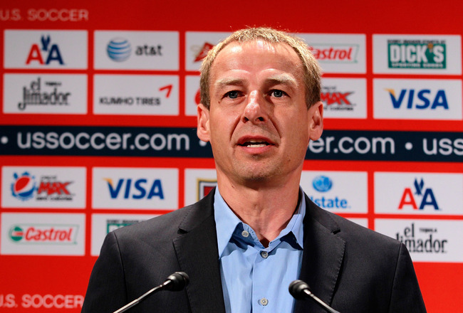 NEW YORK, NY - AUGUST 01:  Jurgen Klinsmann talks to the media during a press conference to announce him as the new head coach of the U.S. Men's National Soccer Team at NikeTown on August 1, 2011 in New York City.  (Photo by Chris Trotman/Getty Images)