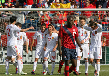 FOXBORO, MA - JUNE 04:  Alvaro Arbeloa #17 of the United States reacts after Santiago Cazoria #20 of Spain scores a second goal against the United States at Gillette Stadium on June 4, 2011 in Foxboro, Massachusetts. (Photo by Gail Oskin/Getty Images)