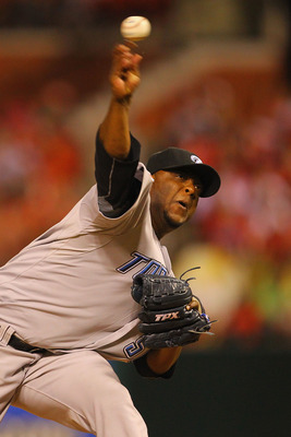 ST. LOUIS, MO - JUNE 24: Reliever Frank Francisco #50 of the Toronto Blue Jays pitches against the St. Louis Cardinals at Busch Stadium on June 24, 2011 in St. Louis, Missouri.  (Photo by Dilip Vishwanat/Getty Images)