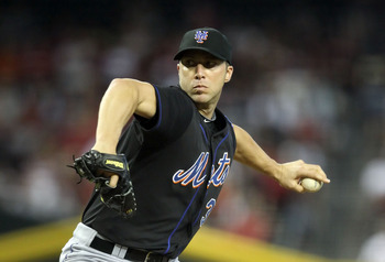 PHOENIX, AZ - AUGUST 14:  Starting pitcher Chris Capuano #38 of the New York Mets pitches against the Arizona Diamondbacks during the Major League Baseball game at Chase Field on August 14, 2011 in Phoenix, Arizona.  (Photo by Christian Petersen/Getty Ima