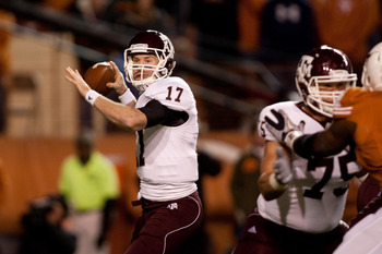 AUSTIN, TX - NOVEMBER 25: Texas A&M quarterback Ryan Tannehill #17 prepares to pass during the first half against the  University of Texas at Darrell K. Royal-Texas Memorial Stadium on November 25, 2010 in Austin, Texas. (Photo by Darren Carroll/Getty Ima