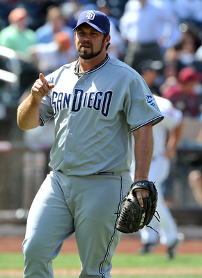 NEW YORK, NY - AUGUST 11: Heath Bell #21 of the San Diego Padres reacts after the final out of the game against the New York Mets at Citi Field on August 11, 2011 in the Flushing neighborhood of the Queens borough of New York City. (Photo by Christopher P