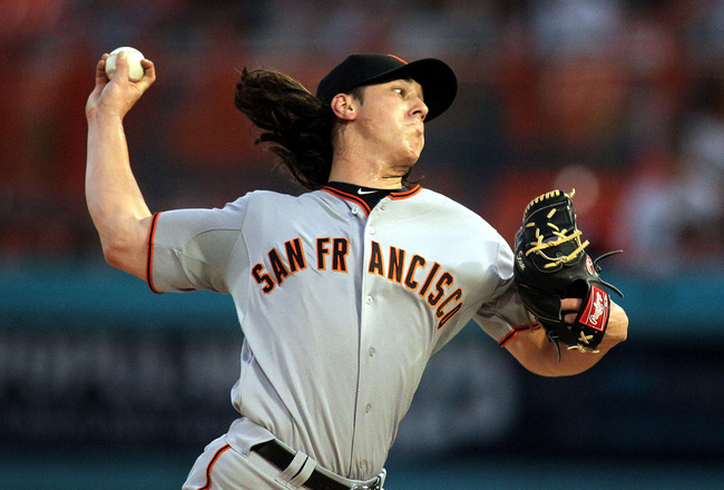 MIAMI GARDENS, FL - AUGUST 13:  Pitcher Tim Lincecum #55 of the San Francisco Giants throws against the Florida Marlins at Sun Life Stadium on August 13, 2011 in Miami Gardens, Florida.  (Photo by Marc Serota/Getty Images)