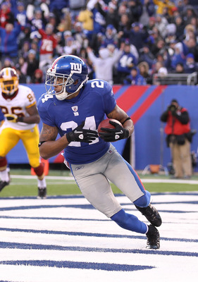 EAST RUTHERFORD, NJ - DECEMBER 05:  Terrell Thomas #24  of the New York Giants intercepts the ball against the Washington Redskins during their game on December 5, 2010 at The New Meadowlands Stadium in East Rutherford, New Jersey.  (Photo by Al Bello/Get