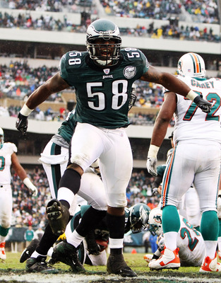 PHILADELPHIA - NOVEMBER 18:  Trent Cole #58  of the Philadelphia Eagles celebrates a tackle against the Miami Dolphins on November 18, 2007 at Lincoln Financial Field in Philadelphia, Pennsylvania.  (Photo by Al Bello/Getty Images)