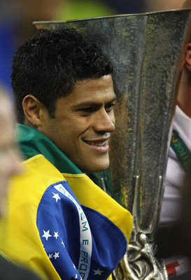 DUBLIN, IRELAND - MAY 18: Hulk of FC Porto holds the trophy during the UEFA Europa League Final between FC Porto and SC Braga at Dublin Arena on May 18, 2011 in Dublin, Ireland.  (Photo by Alex Livesey/Getty Images)