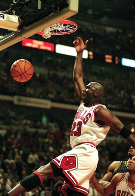 27 May 1998:  Michael Jordan #23 of the Chicago Bulls dunks the ball during the game against the Indiana Pacers at the United Center in Chicago, Illinois. The Bulls defeated the Pacers 106-87.   Mandatory Credit: Jonathan Daniel  /Allsport