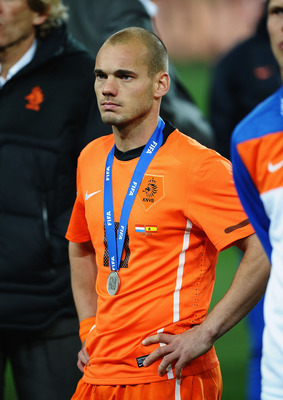 Sneijder after receiving his World Cup runners-up medal in South Africa last summer
