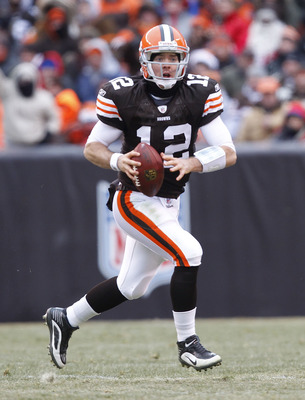 CLEVELAND - DECEMBER 26:  Quarterback Colt McCoy #12 of the Cleveland Browns looks for a receiver against the Baltimore Ravens at Cleveland Browns Stadium on December 26, 2010 in Cleveland, Ohio.  (Photo by Matt Sullivan/Getty Images)