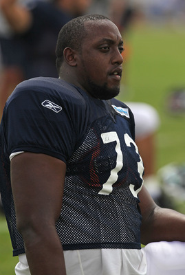 BOURBONNAIS, IL - AUGUST 06: J'Marcus Webb #73 of the Chicago Bears stretches before a summer training camp practice at Olivet Nazarene University on August 6, 2011 in Bourbonnais, Illinois. (Photo by Jonathan Daniel/Getty Images)