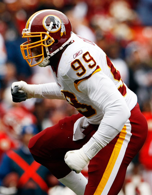 LANDOVER, MD - OCTOBER 18:  Brian Orakpo #98 of the Washington Redskins celebrates a sack during a game against the  Kansas City Chiefs October 18, 2009 at FedEx Field in Landover, Maryland.The Chiefs won the game 14-6.  (Photo by Win McNamee/Getty Images