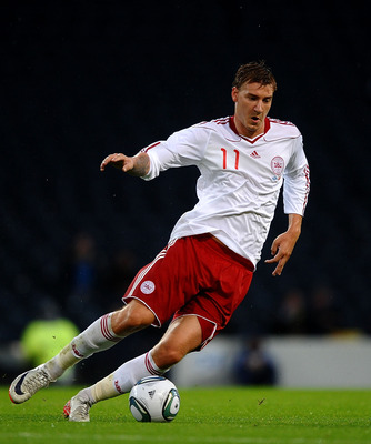 GLASGOW, SCOTLAND - AUGUST 10:  Nicklas Bendtner of Denmark in action during the International Friendly Match between Scotland and Denmark at Hampden Park on August 10, 2011 in Glasgow, Scotland.  (Photo by Laurence Griffiths/Getty Images)