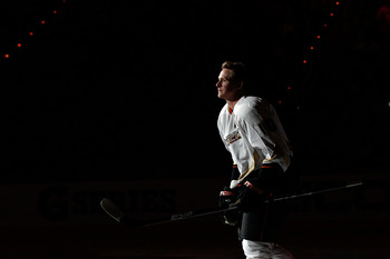 RALEIGH, NC - JANUARY 29: Corey Perry #10 of the Anaheim Ducks is introduced during the Honda NHL SuperSkills competition part of 2011 NHL All-Star Weekend at the RBC Center on January 29, 2011 in Raleigh, North Carolina. (Photo by Kevin C. Cox/Getty Imag