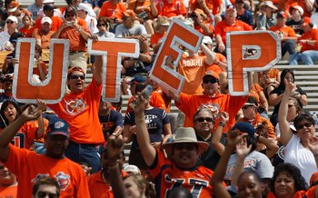 AUSTIN, TX - SEPTEMBER 26:  UTEP Miners fans before a game with the Texas Longhorns at Darrell K Royal-Texas Memorial Stadium on September 26, 2009 in Austin, Texas.  (Photo by Ronald Martinez/Getty Images)