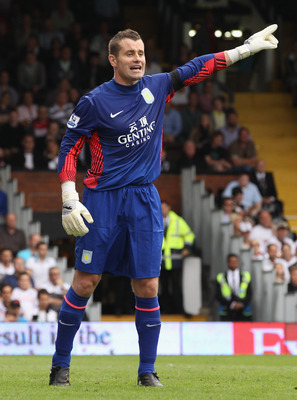 LONDON, ENGLAND - AUGUST 13:  Shay Given of Aston Villa gives instructions during the Barclays Premier League match between Fulham and Aston Villa at Craven Cottage on August 13, 2011 in London, England.  (Photo by Ian Walton/Getty Images)