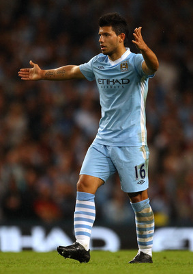 MANCHESTER, ENGLAND - AUGUST 15:  Sergio Aguero of Manchester City during the Barclays Premier League match between Manchester City and Swansea City at Etihad Stadium on August 15, 2011 in Manchester, England.  (Photo by Alex Livesey/Getty Images)