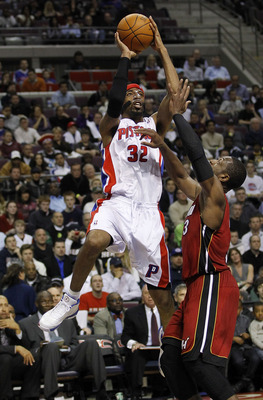 AUBURN HILLS, MI - MARCH 23:  Richard Hamilton #32 of the Detroit Pistons gets a shot off over Dwyane Wade #3 of the Miami Heat at The Palace of Auburn Hills on March 23, 2011 in Auburn Hills, Michigan. Miami won the game 100-94. NOTE TO USER: User expres