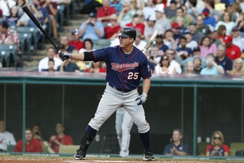 CLEVELAND, OH - AUGUST 13:   Jim Thome #25 of the Minnesota Twins bats againstf the Cleveland Indians during the second inning of their game on August 13, 2011 at Progressive Field in Cleveland, Ohio.  The Cleveland Indians defeated the Minnesota Twins 3-