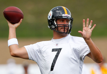 LATROBE, PA - JULY 29:  Ben Roethlisberger #7 of the Pittsburgh Steelers throws during training camp on July 29, 2011 at St Vincent College in Latrobe, Pennsylvania.  (Photo by Jared Wickerham/Getty Images)