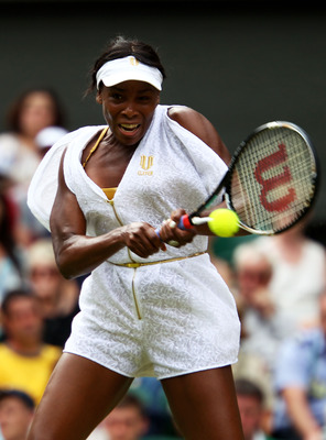LONDON, ENGLAND - JUNE 27:  Venus Williams of the United States returns a shot during her fourth round match against Tsvetana Pironkova of Bulgaria on Day Seven of the Wimbledon Lawn Tennis Championships at the All England Lawn Tennis and Croquet Club on