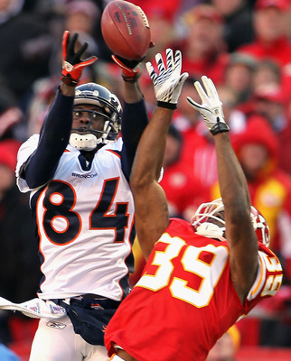 KANSAS CITY, MO - DECEMBER 05:  Brandon Carr #39 of the Kansas City Chiefs breaks up a pass intended for Brandon Lloyd #84 of the Denver Broncos during the game on December 5, 2010 at Arrowhead Stadium in Kansas City, Missouri.  (Photo by Jamie Squire/Get