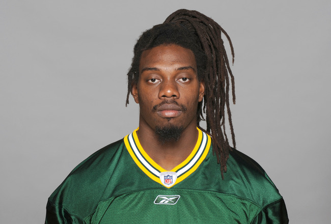 GREEN BAY, WI - CIRCA 2010: In this photo provided by the NFL, Atari Bigby of the Green Bay Packers poses for his 2010 NFL headshot circa 2010 in Green Bay, Wisconsin.  (Photo by NFL via Getty Images)