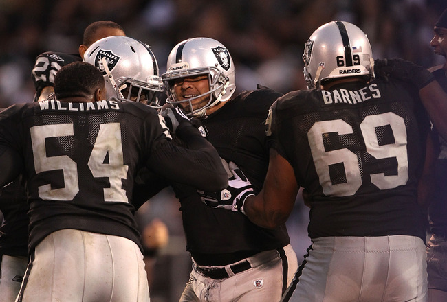 OAKLAND, CA - NOVEMBER 07:  Sebastian Janikowski #11 of the Oakland Raiders celebrates after kicking the game winning field goal in overtime against the Kansas City Chiefs during an NFL game at Oakland-Alameda County Coliseum on November 7, 2010 in Oaklan