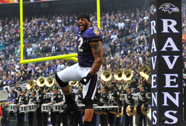 BALTIMORE, MD - JANUARY 2:  Ray Lewis #52 of the Baltimore Ravens is introduced before the game against the Cincinnati Bengals  at M&amp;T Bank Stadium on January 2, 2011 in Baltimore, Maryland. The Ravens defeated the Bengals 13-6. (Photo by Larry French/Get