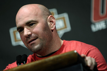 NEW YORK - MARCH 24:  Dana White, president of the UFC, speaks at a press conference for UFC 111 at Radio City Music Hall on March 24, 2010 in New York City.  (Photo by Jeff Zelevansky/Getty Images)