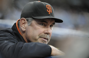 SAN DIEGO, CA - JULY 14: San Francisco Giants manager Bruce Bochy looks on during the second inning of a baseball game against the San Diego Padres at Petco Park on July 14, 2011 in San Diego, California.  (Photo by Denis Poroy/Getty Images)