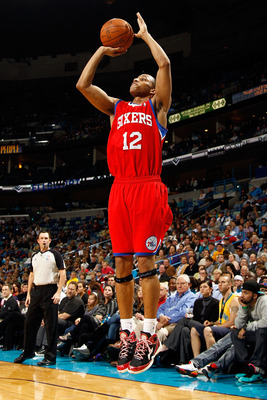 NEW ORLEANS, LA - JANUARY 03:  Evan Turner #12 of the Philadelphia 76ers shoots a jumper against the New Orleans Hornets at New Orleans Arena on January 3, 2011 in New Orleans, Louisiana. NOTE TO USER: User expressly acknowledges and agrees that, by downl