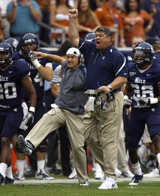 HOUSTON - SEPTEMBER 04:  Head coach David Bailiff reacts after a fourth down stop of the Texas Longhorns at Reliant Stadium on September 4, 2010 in Houston, Texas. Texas beat Rice 34-17.  (Photo by Bob Levey/Getty Images)