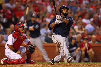 ST. LOUIS, MO - AUGUST 10: Prince Fielder #28 of the Milwaukee Brewers hits an RBI double against the St. Louis Cardinals at Busch Stadium on August 10, 2011 in St. Louis, Missouri.  (Photo by Dilip Vishwanat/Getty Images)