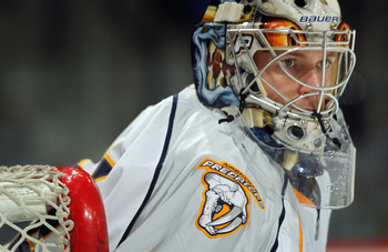DENVER, CO - MARCH 31:  Goalie Pekka Rinne #35 of the Nashville Predators warms up prior to facing the Colorado Avalanche at the Pepsi Center on March 31, 2011 in Denver, Colorado. Rinne had 27 saves as the Nashville Predators defeated the Colorado Avalan
