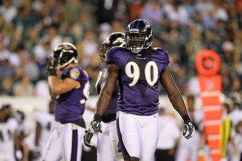 PHILADELPHIA, PA - AUGUST 11:  Pernell McPhee #90 of the Baltimore Ravens in action against the Philadelphia Eagles during their pre season game on August 11, 2011 at Lincoln Financial Field in Philadelphia, Pennsylvania.  (Photo by Jim McIsaac/Getty Imag