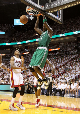 MIAMI, FL - MAY 01:  Kevin Garnett #5 of the Boston Celtics dunks over James Jones #22 of the Miami Heat during Game One of the Eastern Conference Semifinals of the 2011 NBA Playoffs at American Airlines Arena on May 1, 2011 in Miami, Florida. NOTE TO USE
