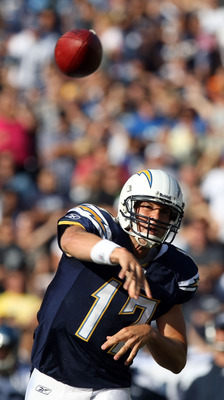 SAN DIEGO, CA - AUGUST 11:  Quarterback Philip Rivers #17 of the San Diego Chargers throws the ball against the Seattle Seahawks during their  NFL preseason game on August 11, 2011 at Qualcomm Stadium in San Diego, California. (Photo by Donald Miralle/Get