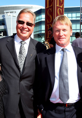LOS ANGELES, CA - JULY 14:  ESPN talent Ron Jaworski and Jon Gruden arrive at the 2010 ESPY Awards at Nokia Theatre L.A. Live on July 14, 2010 in Los Angeles, California.  (Photo by Alexandra Wyman/Getty Images for ESPY)