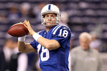 INDIANAPOLIS, IN - JANUARY 08:  Peyton Manning #18 of the Indianapolis Colts warms up against the New York Jets during their 2011 AFC wild card playoff game at Lucas Oil Stadium on January 8, 2011 in Indianapolis, Indiana.  (Photo by Andy Lyons/Getty Imag