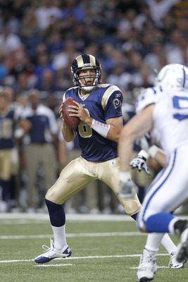ST. LOUIS, MO - AUGUST 13: Sam Bradford #8 of the St. Louis Rams looks to pass during the first half of the NFL preseason game against the Indianapolis Colts at Edward Jones Dome on August 13, 2011 in St. Louis, Missouri. (Photo by Joe Robbins/Getty Image