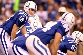 INDIANAPOLIS, IN - JANUARY 08:  Payton Manning #18 of the Indianapolis Colts calls out signals as he steps up to the line of scrimmage in the first quarter against the New York Jets during their 2011 AFC wild card playoff game at Lucas Oil Stadium on Janu