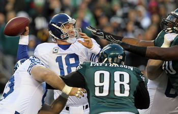 PHILADELPHIA - NOVEMBER 07:  Peyton Manning #18 of the Indianapolis Colts throws a pass against the Philadelphia Eagles on November 7, 2010 at Lincoln Financial Field in Philadelphia, Pennsylvania.  (Photo by Jim McIsaac/Getty Images)