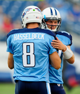 NASHVILLE, TN - AUGUST 13:  Matt Hasslbeck #8 of the Tennessee Titans offers encouragement to teammate Jake Locker #10 before a preseason game against the Minnesota Vikings at LP Field on August 13, 2011 in Nashville, Tennessee.  (Photo by Grant Halverson