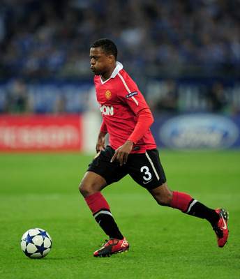 GELSENKIRCHEN, GERMANY - APRIL 26:  Patrice Evra of Manchester United in action during the UEFA Champions League Semi Final first leg match between FC Schalke 04 and Manchester United at Veltins Arena on April 26, 2011 in Gelsenkirchen, Germany.  (Photo b