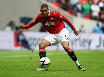 LONDON, ENGLAND - AUGUST 07:  Chris Smalling of Manchester United in action during the FA Community Shield match sponsored by McDonald's between Manchester City and Manchester United at Wembley Stadium on August 7, 2011 in London, England.  (Photo by Cliv