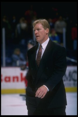 24 Feb 1996:  Jim Schoenfeld looks on during a game between the Washington Capitals and the New Jersey Devils at the USAir Arena in Landover, Maryland.  The Devils won the game, 2-1. Mandatory Credit: Doug Pensinger  /Allsport