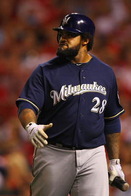 ST. LOUIS, MO - AUGUST 11: Prince Fielder #28 of the Milwaukee Brewers returns to the dugout after striking out against the St. Louis Cardinals at Busch Stadium on August 11, 2011 in St. Louis, Missouri.  The Cardinals beat the Brewers 5-2.  (Photo by Dil