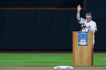 NEW YORK - AUGUST 22:  Tom Seaver speaks during the presentation commemorating the New York Mets 40th anniversary of the 1969 World Championship team on August 22, 2009 at Citi Field in the Flushing neighborhood of the Queens borough of New York City.  (P